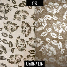 Triangle Lamp Shade - P09 - Batik Peony on Natural, 40cm(w) x 40cm(h) - Imbue Lighting
