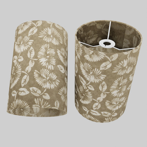 Drum Lamp Shade - P09 - Batik Peony on Natural, 20cm(d) x 30cm(h)