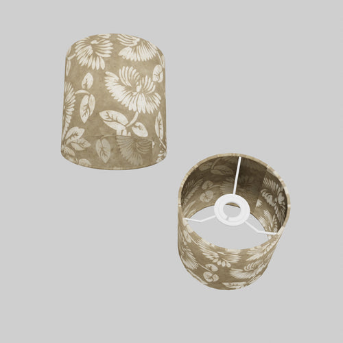 Drum Lamp Shade - P09 - Batik Peony on Natural, 15cm(d) x 15cm(h)