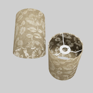 Drum Lamp Shade - P09 - Batik Peony on Natural, 15cm(d) x 20cm(h)