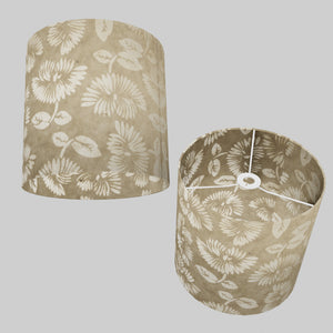 Drum Lamp Shade - P09 - Batik Peony on Natural, 30cm(d) x 30cm(h)