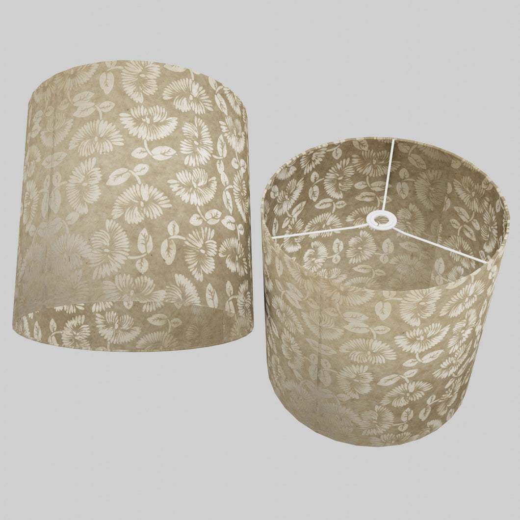 Drum Lamp Shade - P09 - Batik Peony on Natural, 40cm(d) x 40cm(h)