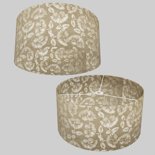 Drum Lamp Shade - P09 - Batik Peony on Natural, 50cm(d) x 25cm(h)
