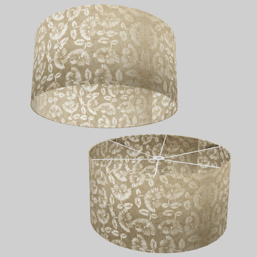 Drum Lamp Shade - P09 - Batik Peony on Natural, 60cm(d) x 30cm(h)