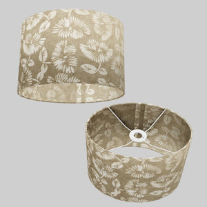 Oval Lamp Shade - P09 - Batik Peony on Natural, 30cm(w) x 20cm(h) x 22cm(d)