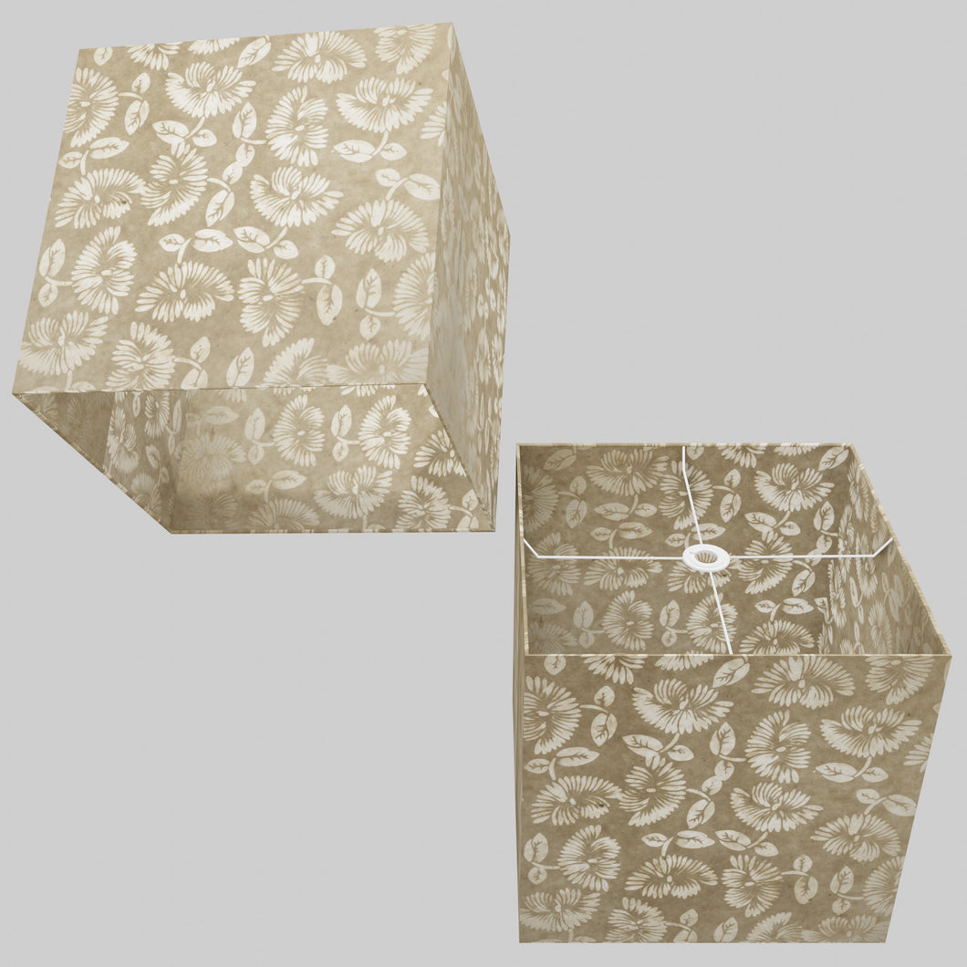 Square Lamp Shade - P09 - Batik Peony on Natural, 40cm(w) x 40cm(h) x 40cm(d)