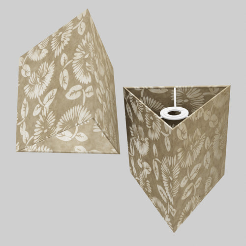 Triangle Lamp Shade - P09 - Batik Peony on Natural, 20cm(w) x 20cm(h)