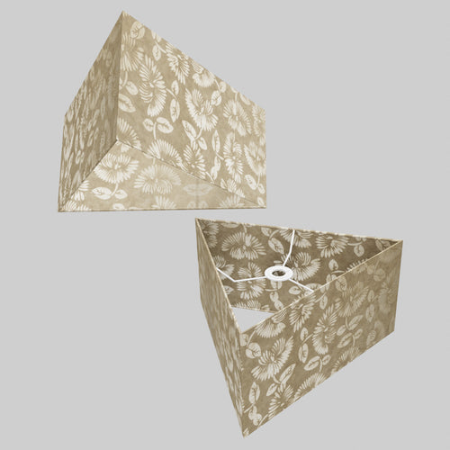 Triangle Lamp Shade - P09 - Batik Peony on Natural, 40cm(w) x 20cm(h)