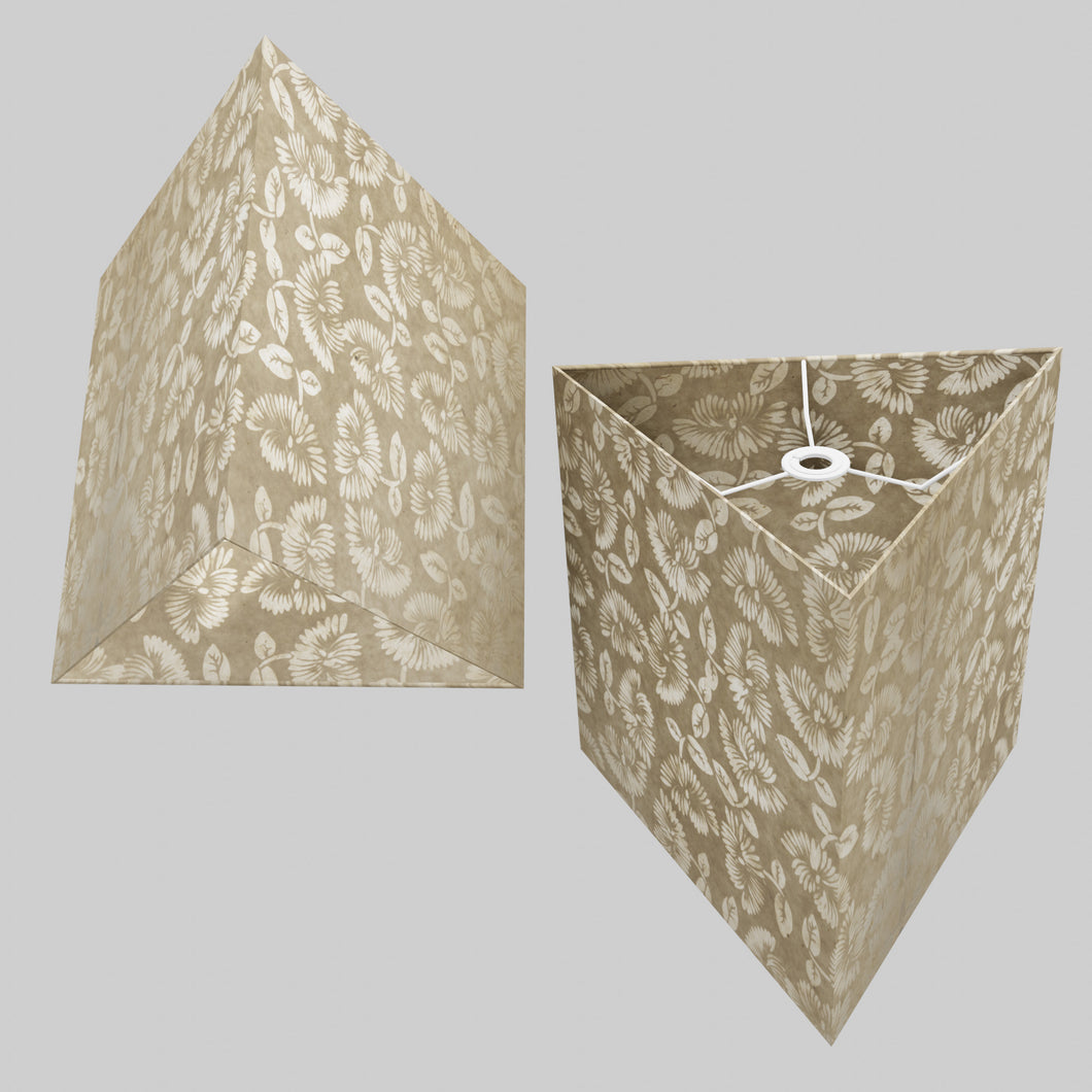 Triangle Lamp Shade - P09 - Batik Peony on Natural, 40cm(w) x 40cm(h)
