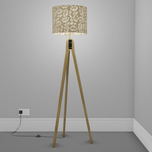 Oak Tripod Floor Lamp - P09 - Batik Peony on Natural