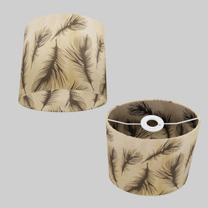 Oval Lamp Shade - B102 - Black Feather, 20cm(w) x 20cm(h) x 13cm(d)
