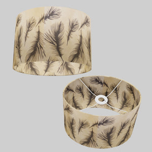 Oval Lamp Shade - B102 - Black Feather, 30cm(w) x 20cm(h) x 22cm(d)