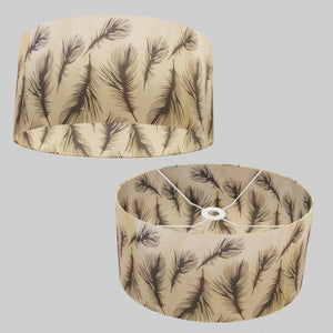 Oval Lamp Shade - B102 - Black Feather, 40cm(w) x 20cm(h) x 30cm(d)