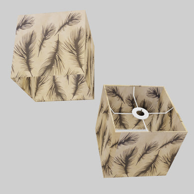 Square Lamp Shade - B102 - Black Feather, 20cm(w) x 20cm(h) x 20cm(d)
