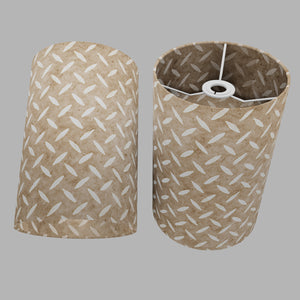 Drum Lamp Shade - P10 - Batik Tread Plate Natural, 20cm(d) x 30cm(h)