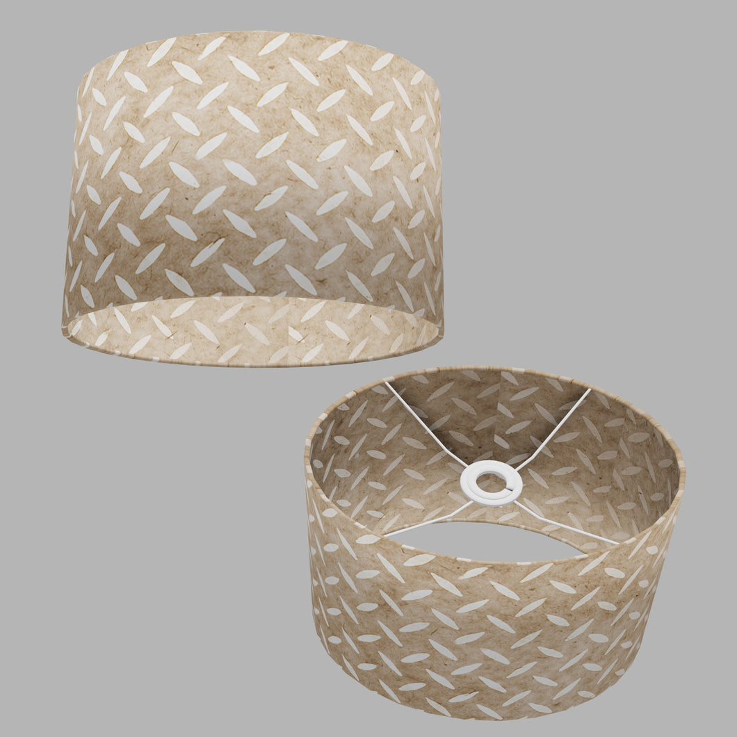 Oval Lamp Shade - P10 - Batik Tread Plate Natural, 30cm(w) x 20cm(h) x 22cm(d)