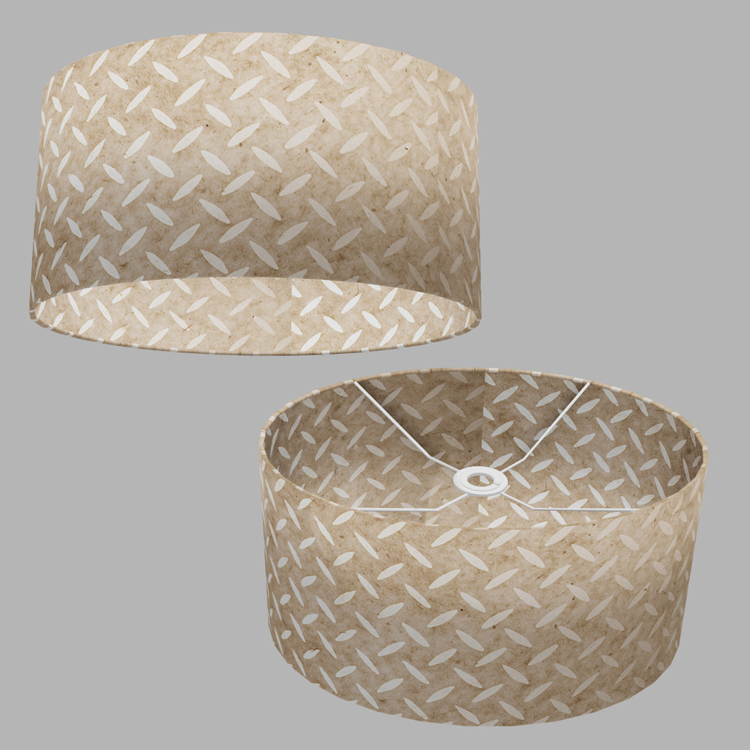 Oval Lamp Shade - P10 - Batik Tread Plate Natural, 40cm(w) x 20cm(h) x 30cm(d)