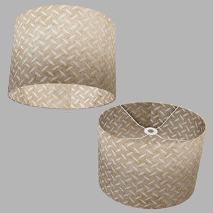 Oval Lamp Shade - P10 - Batik Tread Plate Natural, 40cm(w) x 30cm(h) x 30cm(d)