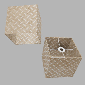 Square Lamp Shade - P10 - Batik Tread Plate Natural, 20cm(w) x 20cm(h) x 20cm(d)