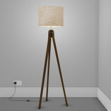 Sapele Tripod Floor Lamp - P10 - Batik Tread Plate Natural