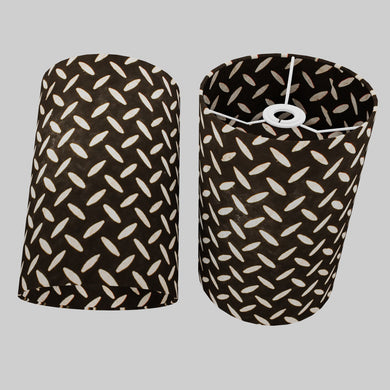 Drum Lamp Shade - P11 - Batik Tread Plate Black, 20cm(d) x 30cm(h)