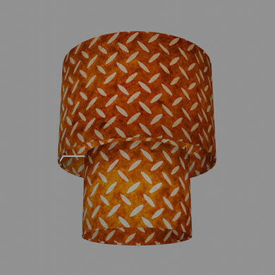 2 Tier Lamp Shade - P12 - Batik Tread Plate Brown, 30cm x 20cm & 20cm x 15cm