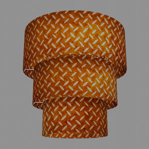 3 Tier Lamp Shade - P12 - Batik Tread Plate Brown, 50cm x 20cm, 40cm x 17.5cm & 30cm x 15cm