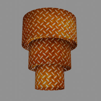 3 Tier Lamp Shade - P12 - Batik Tread Plate Brown, 40cm x 20cm, 30cm x 17.5cm & 20cm x 15cm