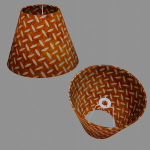 Conical Lamp Shade P12 - Batik Tread Plate Brown, 15cm(top) x 30cm(bottom) x 22cm(height)