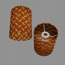 Drum Lamp Shade - P12 - Batik Tread Plate Brown, 15cm(d) x 20cm(h)