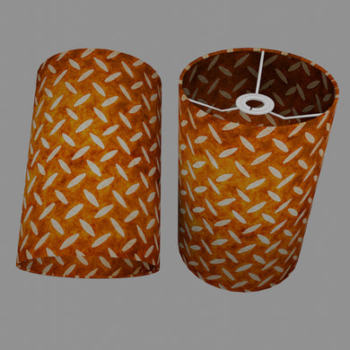 Drum Lamp Shade - P12 - Batik Tread Plate Brown, 20cm(d) x 30cm(h)