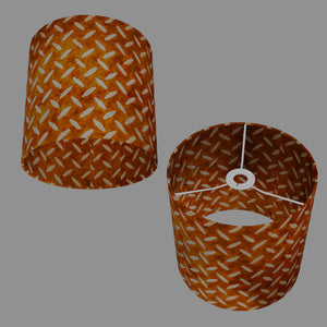 Drum Lamp Shade - P12 - Batik Tread Plate Brown, 25cm x 25cm