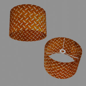 Drum Lamp Shade - P12 - Batik Tread Plate Brown, 30cm(d) x 20cm(h)
