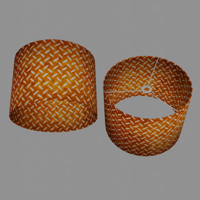 Drum Lamp Shade - P12 - Batik Tread Plate Brown, 40cm(d) x 30cm(h)