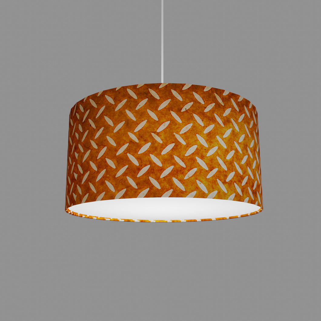 Drum Lamp Shade - P12 - Batik Tread Plate Brown, 40cm(d) x 20cm(h)