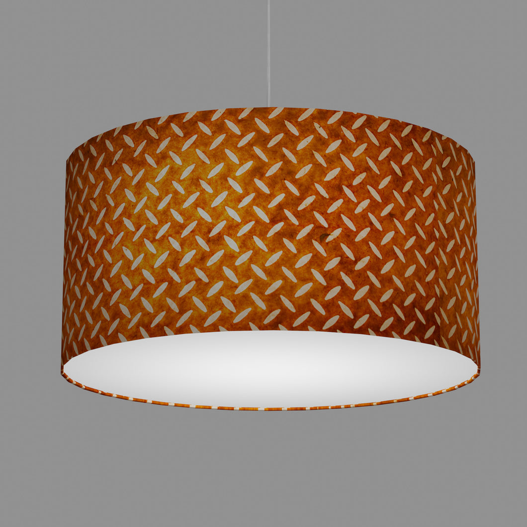 Drum Lamp Shade - P12 - Batik Tread Plate Brown, 60cm(d) x 30cm(h)