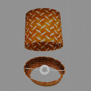 Oval Lamp Shade - P12 - Batik Tread Plate Brown, 20cm(w) x 20cm(h) x 13cm(d)