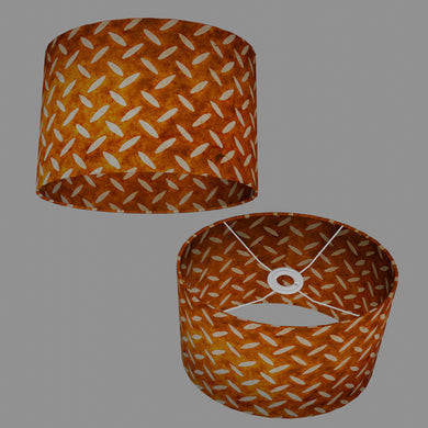 Oval Lamp Shade - P12 - Batik Tread Plate Brown, 30cm(w) x 20cm(h) x 22cm(d)