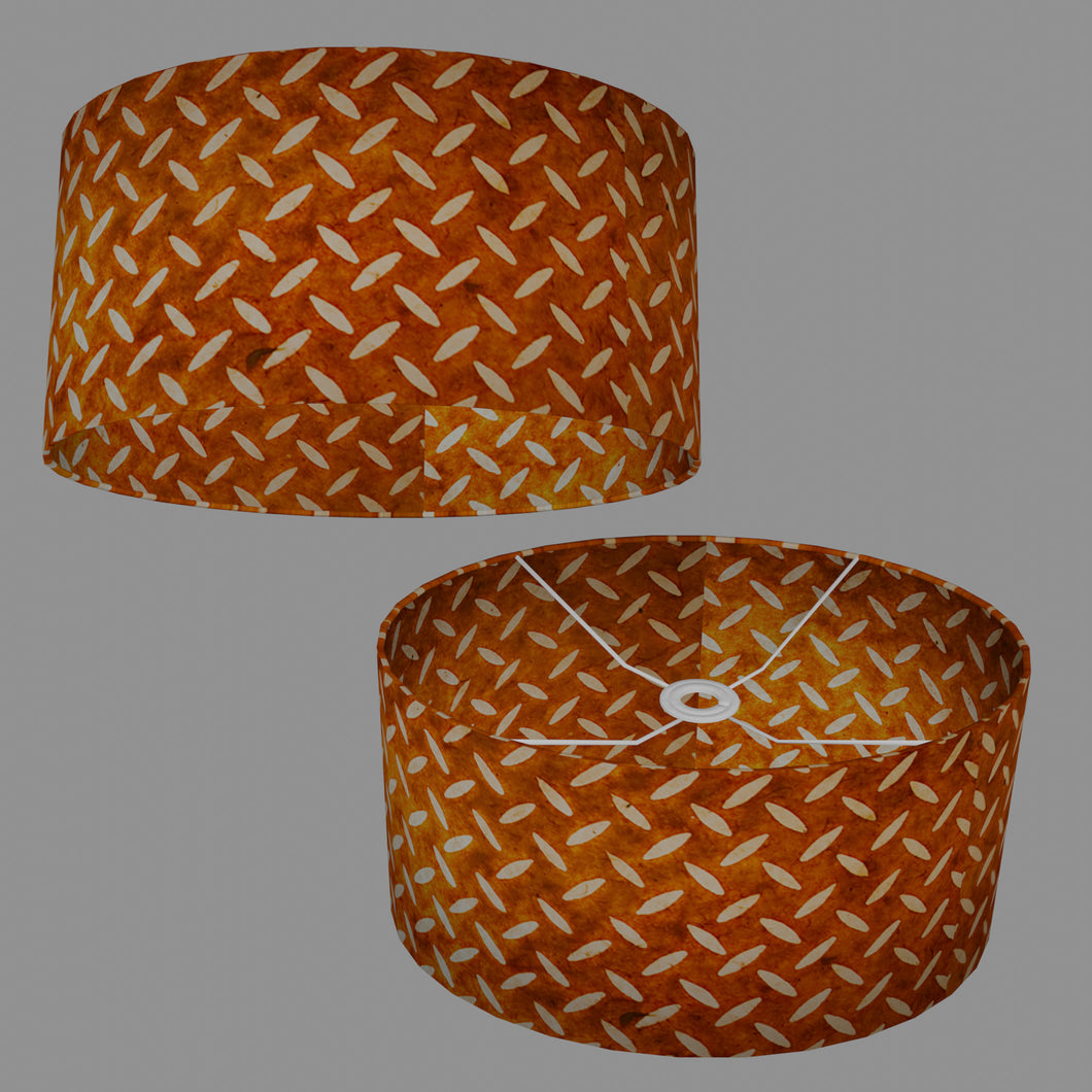 Oval Lamp Shade - P12 - Batik Tread Plate Brown, 40cm(w) x 20cm(h) x 30cm(d)
