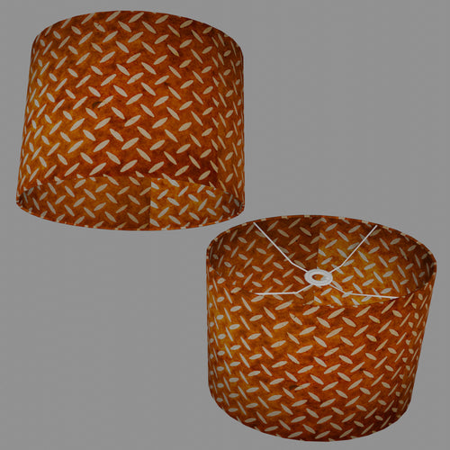 Oval Lamp Shade - P12 - Batik Tread Plate Brown, 40cm(w) x 30cm(h) x 30cm(d)