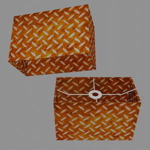 Rectangle Lamp Shade - P12 - Batik Tread Plate Brown, 30cm(w) x 20cm(h) x 15cm(d)