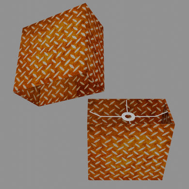 Rectangle Lamp Shade - P12 - Batik Tread Plate Brown, 30cm(w) x 30cm(h) x 15cm(d)