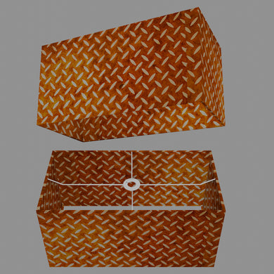 Rectangle Lamp Shade - P12 - Batik Tread Plate Brown, 50cm(w) x 25cm(h) x 25cm(d)