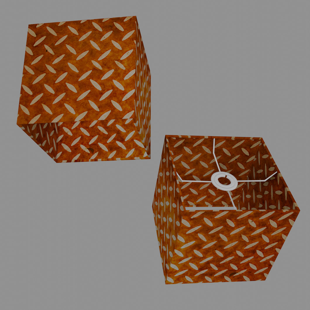 Square Lamp Shade - P12 - Batik Tread Plate Brown, 20cm(w) x 20cm(h) x 20cm(d)