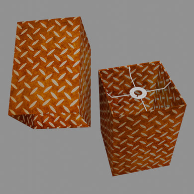 Square Lamp Shade - P12 - Batik Tread Plate Brown, 20cm(w) x 30cm(h) x 20cm(d)