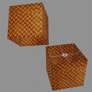 Square Lamp Shade - P12 - Batik Tread Plate Brown, 30cm(w) x 30cm(h) x 30cm(d)