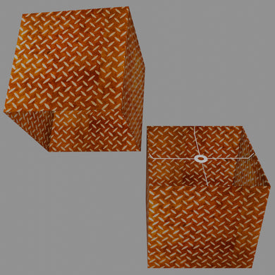 Square Lamp Shade - P12 - Batik Tread Plate Brown, 40cm(w) x 40cm(h) x 40cm(d)