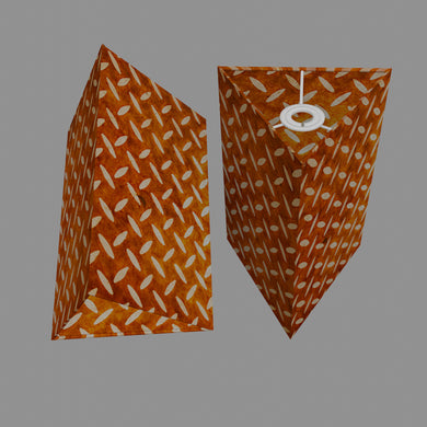 Triangle Lamp Shade - P12 - Batik Tread Plate Brown, 20cm(w) x 30cm(h)