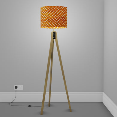 Oak Tripod Floor Lamp - P12 - Batik Tread Plate Brown