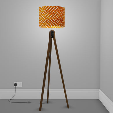 Sapele Tripod Floor Lamp - P12 - Batik Tread Plate Brown